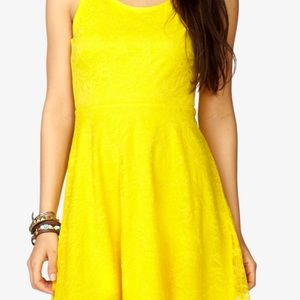 Yellow Forever 21 night out dress size S